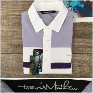 Travis Mathew Polo Golf Shirt Striped Short Sleeve